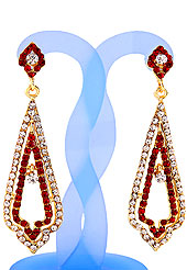 Grab some shine in this festive season. Beautiful earring is studded with Red and White Diamonds. The base frame of earring is made with alloy metal. Slight Color variations are possible due to differing screen and photograph resolution.
