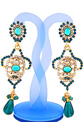 Grab some shine in this festive season. Beautiful earring is studded with Light Blue and White Diamonds with Stone in centre and hanging crystal moti. The base frame of earring is made with alloy metal. Slight Color variations are possible due to differing screen and photograph resolution.