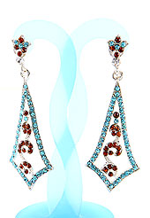 Create striking glance with this earring intended in a rhombus shaped frames which are nicely designed with Light Blue and Rust Diamonds work. The base frame of earring is made with alloy metal. Keep away from water, sweat and perfume. Slight Color variations are possible due to differing screen and photograph resolution.
