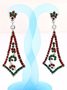 Create striking glance with this earring intended in a rhombus shaped frames which are nicely designed with Red and Green Diamonds work. The base frame of earring is made with alloy metal. Keep away from water, sweat and perfume. Slight Color variations are possible due to differing screen and photograph resolution.