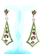 Create striking glance with this earring intended in a rhombus shaped frames which are nicely designed with Lime and Red Diamonds work. The base frame of earring is made with alloy metal. Keep away from water, sweat and perfume. Slight Color variations are possible due to differing screen and photograph resolution.
