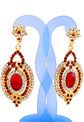 A pair of earrings looks excellent with delicate & elegant work. Earrings are nicely crafted with red and white diamonds studded oval shaped frame with red stone in centre. The base frame of earring is made with alloy metal. It's used for wedding and party purpose. Keep away from water, sweat and perfume. Slight Color variations are possible due to differing screen and photograph resolution.