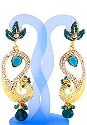Each design has been carefully crafted keeping in mind the taste of today's Indian woman. A classic earring is beautified with diamond and crystal moti work. Peacock shape frames studded with Light Blue and white diamonds. Hanging moti and stone in centre is the main point of attraction. Keep away from water, sweat and perfume. Slight Color variations are possible due to differing screen and photograph resolution.