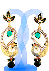 Each design has been carefully crafted keeping in mind the taste of today's Indian woman. A classic earring is beautified with diamond and crystal moti work. Peacock shape frames studded with white, green and light blue diamonds. Hanging moti and stone in centre is the main point of attraction. Keep away from water, sweat and perfume. Slight Color variations are possible due to differing screen and photograph resolution.