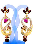 Each design has been carefully crafted keeping in mind the taste of today's Indian woman. A classic earring is beautified with diamond and crystal moti work. Peacock shape frames studded with white and burgundy diamonds. Hanging moti and pink stone in centre is the main point of attraction. Keep away from water, sweat and perfume. Slight Color variations are possible due to differing screen and photograph resolution.