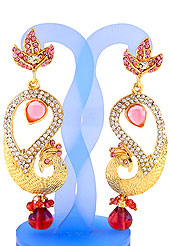Each design has been carefully crafted keeping in mind the taste of today's Indian woman. A classic earring is beautified with diamond and crystal moti work. Peacock shape frames studded with white and baby pink diamonds. Hanging moti and stone in centre is the main point of attraction. Keep away from water, sweat and perfume. Slight Color variations are possible due to differing screen and photograph resolution.