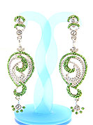 Match your outfits with this earring designed in a floral shape, so that your glamour goes beyond any comparison on your special day. A Pair of earring s nicely crafted with Lime and white diamonds. The base frame of earring is made with alloy metal. Keep away from water, sweat and perfume. Slight Color variations are possible due to differing screen and photograph resolution.