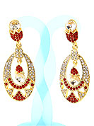 Match your outfits with this earring designed in a oval shape, so that your glamour goes beyond any comparison on your special day. A Pair of earring s nicely crafted with Red and white diamonds. The base frame of earring is made with alloy metal. Keep away from water, sweat and perfume. Slight Color variations are possible due to differing screen and photograph resolution.