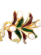 Go with this saree pin designed in a leafs pattern alloy metal frame which are nicely designed with diamonds, moti and enamel work. This brooch color is green and maroon. Keep away from water, sweat and perfume. Slight Color variations are possible due to differing screen and photograph resolution.