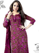 Attract all attentions with this embroidered suit. This beautiful and simple kameez is nicely designed with graceful print work in floral pattern. This suit is made with crepe fabric. It's a perfect casual wear suit.  Color blend of this drape make attractive everywhere. Matching Churidar and dupatta made it attractive and unique to others. Slight Color variations are possible due to differing screen and photograph resolutions.