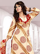 Printed suits are the best choice for a girl to enhance her feminine look.. This Suit has beautiful printed kameez which is crafted with sun and stripe pattern print work. Color combination of suit is fascinating and make you trendy look. This casual wear drape made with cotton fabric. Matching dupatta and churidar is available. Slight Color variations are possible due to differing screen and photograph resolutions.