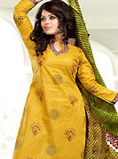Get ready to sizzle all around you by sparkling suit. This Suit has beautiful printed kameez which is crafted with floral and stripe print work. Color combination of suit is fascinating and make you trendy look. This casual wear drape made with cotton fabric. Matching dupatta and churidar is available. Slight Color variations are possible due to differing screen and photograph resolutions.