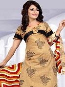Attract all attentions with this printed suit. This Suit has beautiful printed kameez which is crafted with geometric print work. Color combination of suit is fascinating and make you trendy look. This casual wear drape made with cotton fabric. Matching dupatta and churidar is available. Slight Color variations are possible due to differing screen and photograph resolutions.