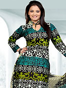 Outfit is a novel ways of getting yourself noticed. This Suit has beautiful printed kameez which is crafted with floral and dot print work. Color combination of suit is fascinating and make you trendy look. This casual wear drape made with cotton fabric. Matching dupatta and churidar is available. Slight Color variations are possible due to differing screen and photograph resolutions.