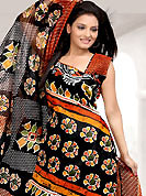 Look stunning rich with dark shades and floral patterns. This Suit has beautiful printed kameez which is crafted with floral and stripe print work. Color combination of suit is fascinating and make you trendy look. This casual wear drape made with cotton fabric. Matching dupatta and churidar is available. Slight Color variations are possible due to differing screen and photograph resolutions.