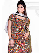 Make a trendy look with this classic printed suit. This Suit has beautiful printed kameez which is crafted with geometrical art print work. Color combination of suit is fascinating and make you trendy look. This casual wear drape made with crepe fabric. Matching dupatta and churidar is available. Slight Color variations are possible due to differing screen and photograph resolutions.