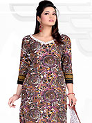 Envelope yourself in classic look with this charming suit. This Suit has beautiful printed kameez which is crafted with geometrical art print work. Color combination of suit is fascinating and make you trendy look. This casual wear drape made with crepe fabric. Matching dupatta and churidar is available. Slight Color variations are possible due to differing screen and photograph resolutions.