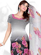 Be the cynosure of all eyes with this wonderful  casual wear in flattering colors and combinations. This Suit has beautiful printed kameez which is crafted with floral and stripe print work. Color combination of suit is fascinating and make you trendy look. This casual wear drape made with crepe fabric. Matching dupatta and churidar is available. Slight Color variations are possible due to differing screen and photograph resolutions.