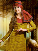 It is color this season and bright shaded suits are really something that is totally in vogue. This Suit has beautiful printed kameez which is crafted with floral print work. Color combination of suit is fascinating and make you trendy look. This casual wear drape made with cotton fabric. Contrasting red churidar and dupatta is available. Unstich kameez can be customize upto 44 inches. Color blend of this drape make attractive everywhere. Slight Color variations are possible due to differing screen and photograph resolutions.