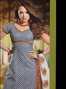 Take the fashion industry by storm in this lovely churidar suit. This Suit has beautiful printed kameez which is crafted with floral print work. Color combination of suit is fascinating and make you trendy look. This casual wear drape made with cotton fabric. Contrasting orange churidar and dupatta is available. Unstich kameez can be customize upto 44 inches. Color blend of this drape make attractive everywhere. Slight Color variations are possible due to differing screen and photograph resolutions.
