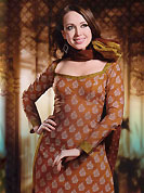 An occasion wear perfect is ready to rock you. This Suit has beautiful printed kameez which is crafted with floral print and patch work. Color combination of suit is fascinating and make you trendy look. This casual wear drape made with cotton fabric. Contrasting mustard churidar and dupatta is available. Unstich kameez can be customize upto 44 inches. Color blend of this drape make attractive everywhere. Slight Color variations are possible due to differing screen and photograph resolutions.