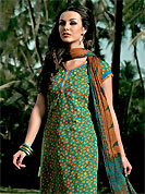 Outfit is a novel ways of getting yourself noticed. This Suit has beautiful kameez which is crafted with leaf print and embroidery patch work work. Embroidery is done with mirror and resham work. Color combination of suit is fascinating and make you trendy look. This casual wear drape made with cotton fabric. Contrasting mustard cotton churidar and crushed cotton printed dupatta is available with this. Slight Color variations are possible due to differing screen and photograph resolutions.