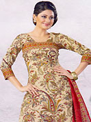Let your personality articulate for you with this amazing printed suit. This simple and pretty kameez have beautiful floral and paisley patterned print work. Matching Printed dupatta and churidar is available. This drape material is cotton. The entire ensemble makes an excellent wear. This unstitched suit can be made till 44 inches. Slight Color variations are possible due to differing screen and photograph resolutions.