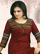 Different colors are a perfect blend of traditional Indian heritage and contemporary artwork. This Suit has beautiful printed kameez which is crafted with floral, geometric print and patch work. Color combination of suit is fascinating and make you trendy look. This casual wear drape made with cotton fabric. Contrasting black churidar and dupatta is available. This unstitched kameez is customized upto 44 inches. Slight Color variations are possible due to differing screen and photograph resolutions.