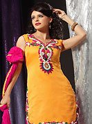 Bold colors created by the inventive drapes of textile catch the imagination like no other contemporary clothing. This deep yellow readymade salwar kameez is embllished with beautiful embroidery patch work in fabulous style. Embroidery is done with resham, stone, sequins and cutdana work. Stylish neck pattern is eye catching to impress all. Contrasting deep pink cotton salwar and dupatta is available with this suit. This drape crafted with art silk fabric. Slight color variations are possible due to differing screen and photograph resolutions.