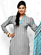 You can be sure that ethnic fashions selections of clothing are taken from the latest trend in today's fashion. This Suit has beautiful printed kameez which is crafted with floral and geometrical pattern. This casual wear drape made with cotton fabric. Contrasting turquoise blue churidar and dupatta is available. The entire ensemble makes an excellent wear. Slight Color variations are possible due to differing screen and photograph resolutions.