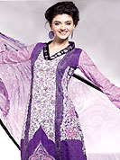 Exquisite combination of color, fabric can be seen here. This off white and purple kameez which is crafted with floral print, thread and satin patch work in form of floral motifs. Stylish patch work is eye catching to impress all. Color combination of suit is fascinating and make you trendy look. This casual wear drape made with cotton fabric. Matching cotton churidar and chiffon dupatta is available with this. Slight Color variations are possible due to differing screen and photograph resolutions.