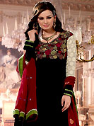 Embroidery suits are the best choice for a girl to enhance her feminine look. The dazzling kameez have amazing embroidery patch work done with resham, zari and sequins work. Embroidery on kameez is highlighting the beauty of this suit. Beautiful broad embroidery patch border on kameez is stunning. Matching churidar and contrast maroon chiffon dupatta come along with this suit. This drape material is georgette fabric. The entire ensemble makes an excellent wear. Accessories shown in the image is just for photography purpose. Slight Color variations are possible due to differing screen and photograph resolutions.