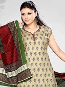 Attract all attentions with this embroidered suit. The dazzling beige readymade salwar kameez have amazing floral print and embroidery patch work. Embroidery is done with resham, sequins and mirror work. Beautiful embroidery work on kameez is stunning. Color combination of this suit is fascinating and makes you fashionable look. Contrasting deep green salwar and dupatta is available with this suit. This drape material is cotton fabric. Slight Color variations are possible due to differing screen and photograph resolutions.