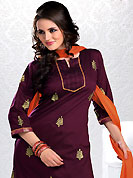 Outfit is a novel ways of getting yourself noticed. The dazzling dark burgundy readymade churidar kameez have amazing embroidery patch work. Embroidery is done with resham and zari work in form of floral motifs. Embroidery on kameez is highlighting the beauty of this suit. Contrasting orange churidar and dupatta come along with this suit. This drape material is cotton fabric. The entire ensemble makes an excellent wear. Slight Color variations are possible due to differing screen and photograph resolutions.