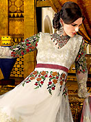 Your search for elegant look ends here with this lovely suit. The dazzling off white anarkali churidar suit have amazing embroidered with all over resham and patch work. Beautiful embroidery work on kameez is stunning. The entire ensemble makes an excellent wear. Matching churidar and dupatta is available with this suit. This beautiful wedding wear suit is made with net fabric. Slight Color variations are possible due to differing screen and photograph resolutions.