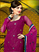 The color range from natural shades looks ravishing. The dazzling purple A-Line kameez have amazing embroidery and patch work. Embroidery is done with resham, zari and stone work. Beautiful embroidery work on kameez is stunning. The entire ensemble makes an excellent wear. Matching churidar and dupatta is available with this suit. This beautiful wedding wear suit is made with viscose fabric. Slight Color variations are possible due to differing screen and photograph resolutions.