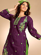 Era with extension in fashion, style, Grace and elegance have developed grand love affair with this ethnical wear. The dazzling deep purple readymade salwar kameez have amazing embroidery and patch work. Embroidery is done with resham, zari and buttons work in form of floral motifs. The entire ensemble makes an excellent wear. Contrasting green cotton salwar and chiffon dupatta is available with this suit. This beautiful drape is made with crush cotton fabric. Slight Color variations are possible due to differing screen and photograph resolutions.