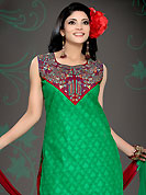 Attract all attentions with this embroidered suit. The dazzling green and maroon cotton readymade salwar kameez have amazing embroidery and patch work. Embroidery is done with resham, sequins and zari work in form of floral and paisley motifs. Beautiful embroidery work on kameez is stunning. The entire ensemble makes an excellent wear.  Contrasting maroon cotton salwar and chiffon dupatta is available with this suit. Slight Color variations are possible due to differing screen and photograph resolutions.