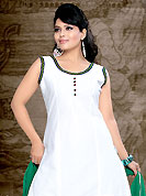 Take a look on the changing fashion of the season. The dazzling white cotton readymade salwar kameez have amazing embroidery and patch work. Embroidery is done with resham, mirror and fabric buttons work in form of floral motifs. Contrasting green butter crepe salwar and chiffon dupatta is available with this suit. Slight Color variations are possible due to differing screen and photograph resolutions.