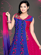 Take the fashion industry by storm in this beautiful embroidered suit. The dazzling blue and deep pink cotton readymade churidar suit have amazing embroidery patch work is done with resham, zari, stone and cut work in form of floral motifs. Color combination of this suit is fascinating and makes you fashionable look. Matching churidar and double dye chiffon dupatta is available with this suit. Slight Color variations are possible due to differing screen and photograph resolutions.