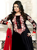 Era with extension in fashion, style, Grace and elegance have developed grand love affair with this ethnical wear. The dazzling black georgette kameez have amazing embroidery patch work. Embroidery is done with resham and sequins work in form of floral motifs. Beautiful embroidery work on kameez is stunning. This is perfect party wear suit. The entire ensemble makes an excellent wear. Matching santoon churidar and contrast red chiffon dupatta is available with this suit. Slight Color variations are possible due to differing screen and photograph resolutions.