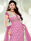 Be the cynosure of all eyes with this wonderful  wear in flattering colors and combinations. This onion pink chiffon kameez has beautiful embroidered and patch work. Embroidery is done with resham, sequins and lace work in form of floral motifs. Embroidery on kameez is highlighting the beauty of this suit. Matching churidar and dupatta is available with this suit. It's a wonderful party wear suit. Slight color variations are possible due to differing screen and photograph resolutions.