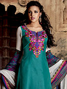 The fascinating beautiful subtly garment with lovely patterns. The dazzling turquoise green net A-Line churidar suit have amazing floral print, embroidery and patch work. Embroidery is done with resham, kasab and lace work in form of floral motifs. Embroidery on kameez is highlighting the beauty of this suit. Matching crepe churidar and off white chiffon dupatta come along with this suit. Accessories shown in the image is just for photography purpose. Slight Color variations are possible due to differing screen and photograph resolutions.
