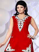 The color range from natural shades looks ravishing. This red chanderi silk salwar kameez have amazing embroidery and patch work. Embroidery is done with resham, sequins and lace work in form of floral motifs. Beautiful embroidery work on kameez is stunning. Contrasting cream salwar and dupatta is available with this suit. Slight Color variations are possible due to differing screen and photograph resolutions.