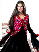 Let your personality articulate for you with this embroidery suit. This black faux georgette churidar suit have amazing embroidery patch work is done with resham work. Embroidery on kameez is highlighting the beauty of this suit. Matching santoon churidar and chiffon dupatta come along with this suit. Slight Color variations are possible due to differing screen and photograph resolutions.