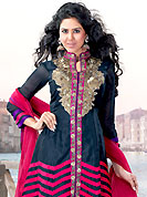 The fascinating beautiful subtly garment with lovely patterns. This deep navy blue chanderi silk churidar suit have amazing embroidery patch work is done with resham, zari and sequins work. Embroidery on kameez is highlighting the beauty of this suit. Matching santoon churidar and deep pink net dupatta come along with this suit. Slight Color variations are possible due to differing screen and photograph resolutions.