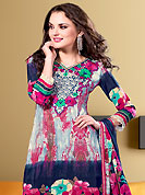An occasion wear perfect is ready to rock you. The dazzling light grey and dark blue faux crepe salwar kameez have amazing floral and abstract print and embroidery patch work is done with resham and lace work. The entire ensemble makes an excellent wear. Matching salwar and dupatta is available with this suit. Slight Color variations are possible due to differing screen and photograph resolutions.