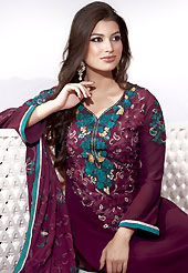 The glamorous silhouette to meet your most dire fashion needs. The dazzling burgundy faux georgette churidar suit have amazing embroidery patch work is done with resham, zari and sequins work. Beautiful embroidery work on kameez is stunning. The entire ensemble makes an excellent wear. Matching churidar and dupatta is available with this suit. Slight Color variations are possible due to differing screen and photograph resolutions.
