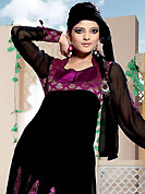 The fascinating beautiful subtly garment with lovely patterns. The dazzling black faux georgette churidar suit have amazing embroidery and silk patch is done with resham and cutdana work. Beautiful embroidery work on kameez is stunning. The entire ensemble makes an excellent wear. Matching churidar and dupatta is available with this suit. Slight Color variations are possible due to differing screen and photograph resolutions.