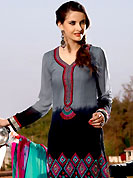 Exquisite combination of color, fabric can be seen here. The dazzling grey and black chanderi silk kameez have amazing embroidery patch work is done with resham work. Embroidery work on kameez is stunning. This is perfect party wear suit. The entire ensemble makes an excellent wear. Matching grey churidar and turquoise green and dark pink dupatta is available with this suit. Slight Color variations are possible due to differing screen and photograph resolutions.